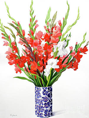 Glazed Pottery Painting - Red And White Gladioli by Christopher Ryland