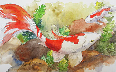 Red And White Goldfish Original by Tracie Thompson