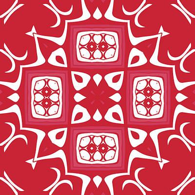 Digital Art - Red And White Modern Decor Design by Georgiana Romanovna