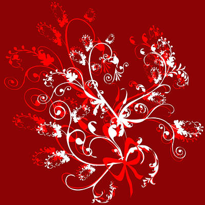 Red And White Ornaments Art Print by Svetlana Sewell