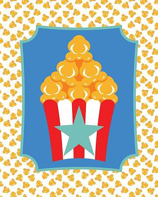 Digital Art - Red And White Popcorn Box With Turquoise Star by MM Anderson