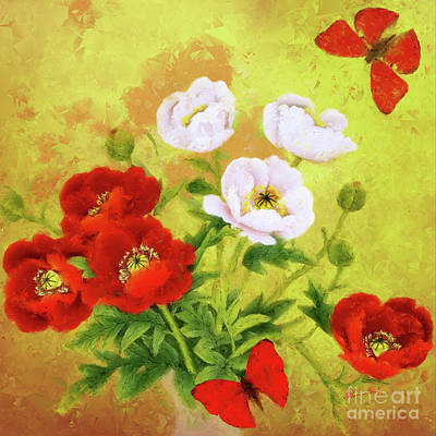 Painting - Red And White Poppy Flowers by Olga Hamilton