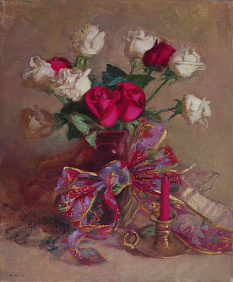 Painting - Red and White Roses by Walter Lynn Mosley