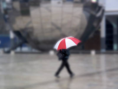 Photograph - Red And White Umbrella by Christopher Rees