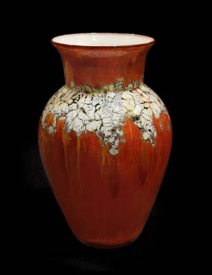 Mixed Media - Red And White Vase by Christopher Schranck