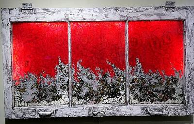 Mixed Media - Red And White Window # 1 by Christopher Schranck