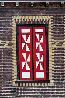 Photograph - Red And White Window Shutters. De Haar Castle by Jenny Rainbow