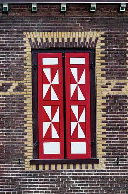 Red And White Window Shutters. De Haar Castle Art Print