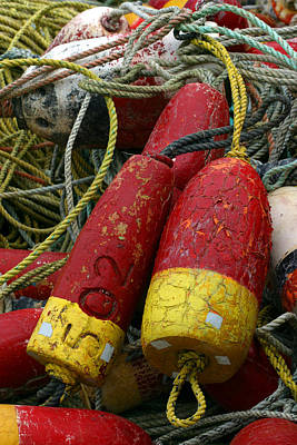 Netting Photograph - Red And Yellow Buoys by Carol Leigh
