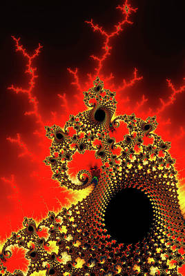 Trippy Digital Art - Red And Yellow Crazy Fractal by Matthias Hauser