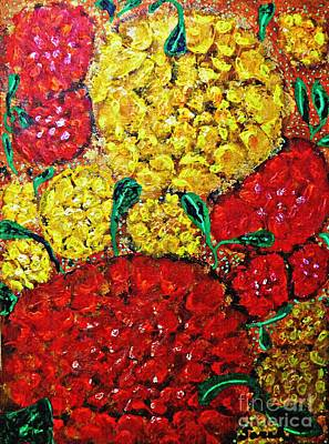 Lobby Art Painting - Red And Yellow Garden by Sarah Loft