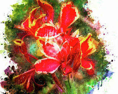 Lilies Digital Art - Red and Yellow Lilies by Mary Machare