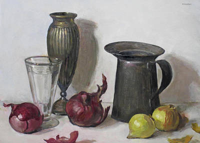 Painting - Red And Yellow Onions, Water Glass, Oil Can, Silver Vase by Robert Holden