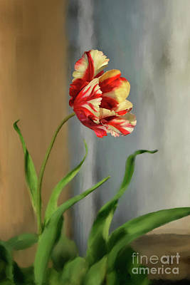 Tulip Digital Art - Red And Yellow Parrot Tulip by Lois Bryan