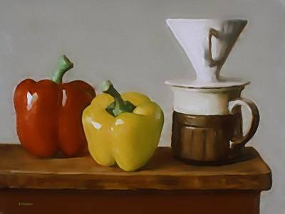 Painting - Red And Yellow Peppers With Coffee Mug And Filter Holder by Robert Holden