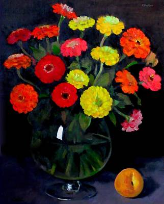 Painting - More Red And Yellow Zinnias by Robert Holden