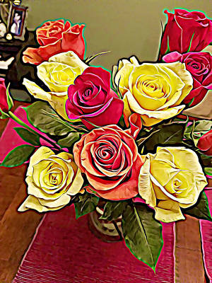 Red And Yellow Rose Bouquet Art Print