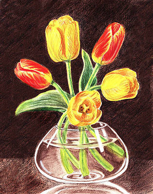 Painting - Red And Yellow Tulips Bouquet by Irina Sztukowski