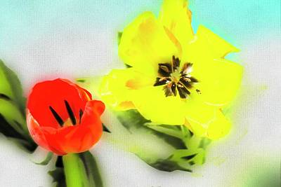 Digital Art - Red And Yellow Tulips by Rusty R Smith