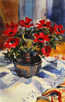 Table Cloth Painting - Red Anemones by Sue Wales
