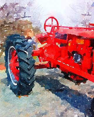 Painting - Red Antique Tractor by Leah Lambart