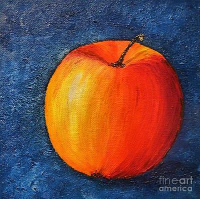 Red Apple - Stil Life Painting Original by Birgit Moldenhauer