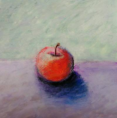 Pastel - Red Apple With Mint Green And Purple by Michelle Calkins
