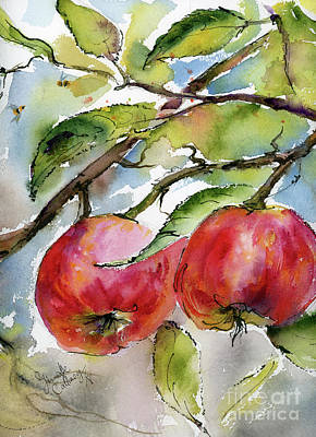 Painting - Red Apples And Bees by Ginette Callaway