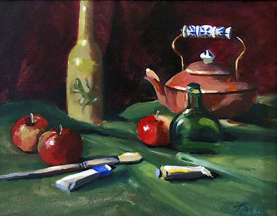 Painting - Red Apples And Paint by Nancy Griswold