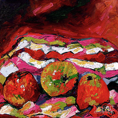 Red Apples Impressionist Still Life Oil Painting Art Print