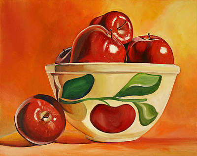 Mixing Bowls Painting - Red Apples In Vintage Watt Yellowware Bowl by Toni Grote