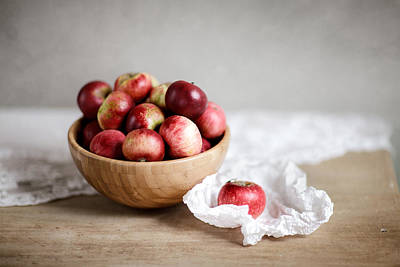 Wooden Bowls Photograph - Red Apples Still Life by Nailia Schwarz