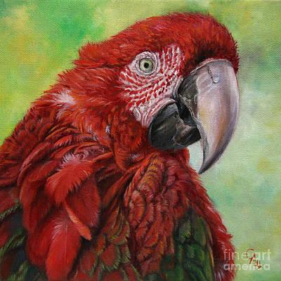 Red  Ara Chloropterus Macaw Art Print by Svetlana Ledneva-Schukina