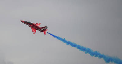 Photograph - Red Arrow Blue Smoke - Teesside Airshow 2016 by Scott Lyons