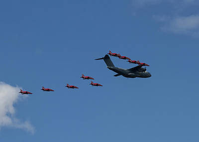 Photograph - Red Arrows And A400m Formation by Shirley Mitchell