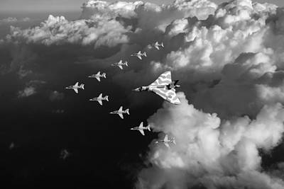 Photograph - Red Arrows And Vulcan Above Clouds Black And White by Gary Eason
