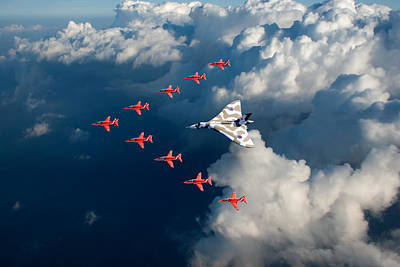 Photograph - Red Arrows And Vulcan Above Clouds by Gary Eason