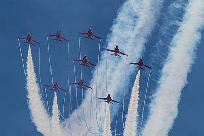 Photograph - Red Arrows At Duxford by Ken Brannen