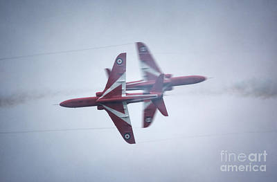 Flying Hawks Digital Art - Red Arrows Close Pass by Nigel Bangert
