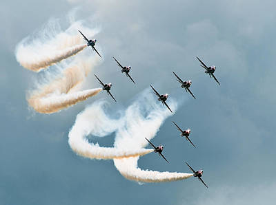 Aircraft Photograph - Red Arrows by Jan Lykke