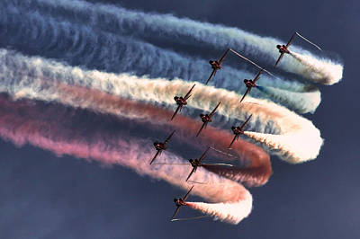 Red Arrows Roll Art Print by Phil Clements