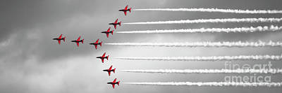 Photograph - Red Arrows Selective Colour Panorama by Terri Waters