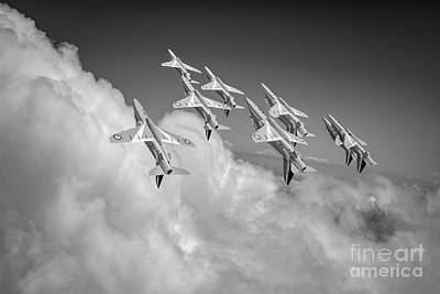 Photograph - Red Arrows Sky High Bw Version by Gary Eason