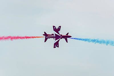 Photograph - Red Arrows Synchro Pair by Gary Eason