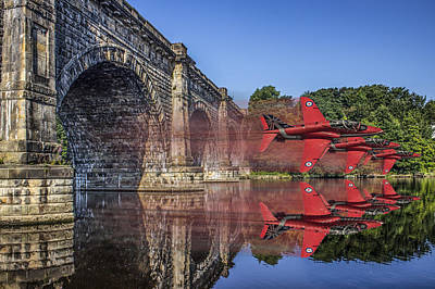 Aqueduct Digital Art - Red Arrows Through The Aqueduct by Paul Madden