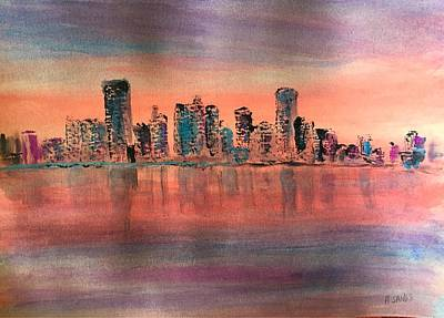 Painting - Red At Dawn In Miami by Anne Sands