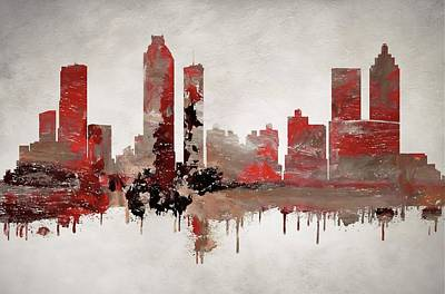 Atlanta City Painting - Red Atlanta Georgia Skyline by Dan Sproul