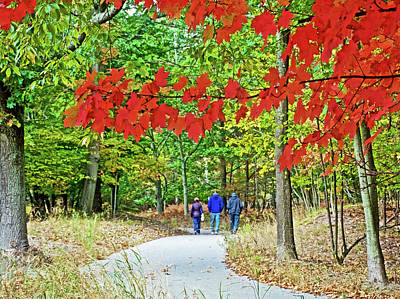 Photograph - Red Autumn Leaves Over Trail To North Beach Park In Ottawa County, Michigan  by Ruth Hager
