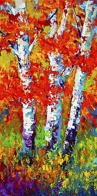 Birch Tree Painting - Red Autumn by Marion Rose