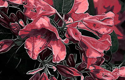 Digital Art - Red Azaleas by Erica Hanel